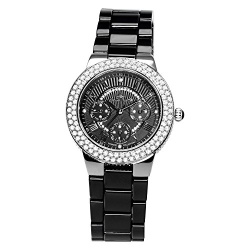 Stella Maris - STM15S4 - wrist watch for women - quartz movement analog display - black dial - black ceramic bracelet
