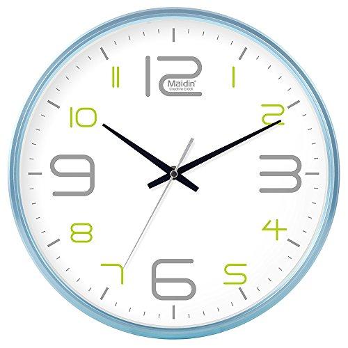 DIDADI Wall Clock Schautafel Schlafzimmer Wohnzimmer Hörraum Wanduhr Herr Ding hinter dem Kalender Uhr - Ching-stein Batterie Uhren runden-Jong-Mann, 12, die normale Version Blau