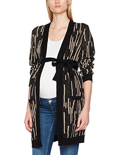 Mamalicious mljanas l/s knit cardigan, maternità cardigan donna, nero (black aop:oatmeal), 38 (taglia produttore: medium)