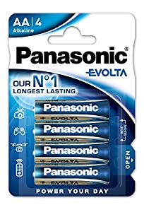 Panasonic Batterie Stilo AA Evolta, Blister 4, Blu