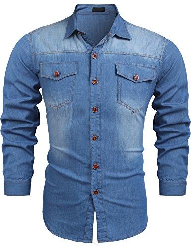 Burlady Jeanshemden Herren Langarm Denim Hemden Freizeit Shirts Regular Fit Hemden (Slim-fit-jeans Cowboy)