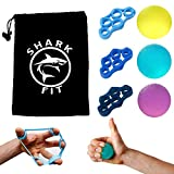 SharkFit® 6er-Set Premium Fingertrainer Handtrainer Finger Stretcher Set, 3-Griffbälle + 3 Finger zur Stärkung der Finger und Unterarme in 3 verschiedenen Widerstandsstufen inkl. hochwertigem Aufbewahrungsbeutel