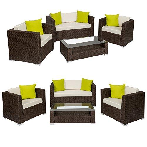 Tectake set di mobili rattan alluminio arredamento for Set giardino rattan