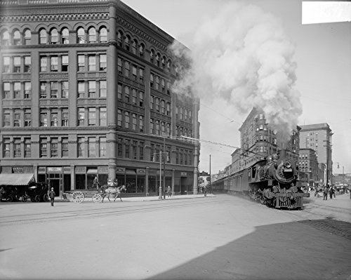New York Central Railroad. /Nthe Empire State Express On The New York Central Railroad Passing Through Washington Street In Syracuse New York. Photograph C1907. Kunstdruck (45,72 x 60,96 cm)