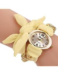 Yellow : ALCYONEUS Casual Sweet Bow Cloth Strap Round Dial Quartz Bracelet Wrist Watch For Woman