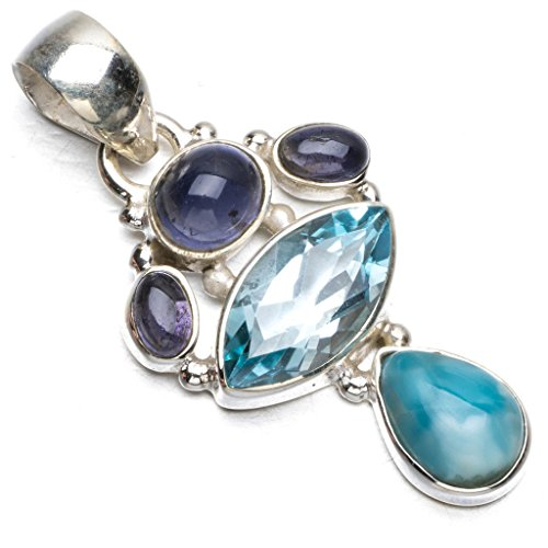 stargems-tm-naturel-des-caraibes-larimar-topaze-bleue-et-kyaneite-boho-style-argent-sterling-925-pen