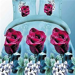 JUFENG Ensemble De Housse De Couette Double Taille - Motifs De Fleurs Classiques-3D Pics Housse De Couette en Microfibre Hypoallergénique Ultra Souple,J-200 * 230CM230*230CM48*74CM