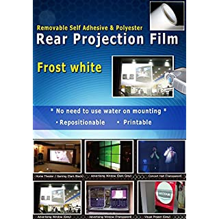 A4 sheet sample - Reusable Rear Projection Film, Removable & Repositionable Self adhesive, Frost white color, No need to use water for mounting, from UK stock (VAT included)