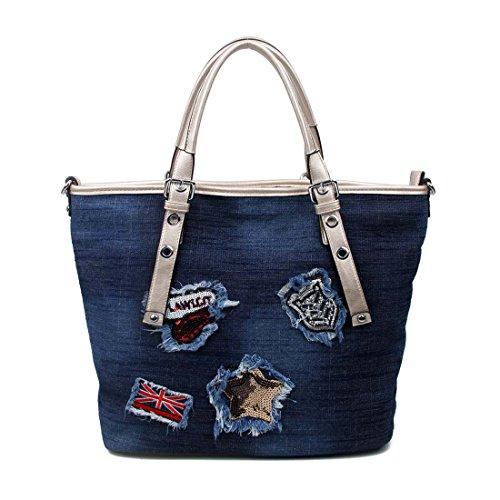 OBC Only-Beautiful-Couture, Borsa a mano donna nero nero ca.: 44x32x15 cm (BxHxT) blu scuro-oro