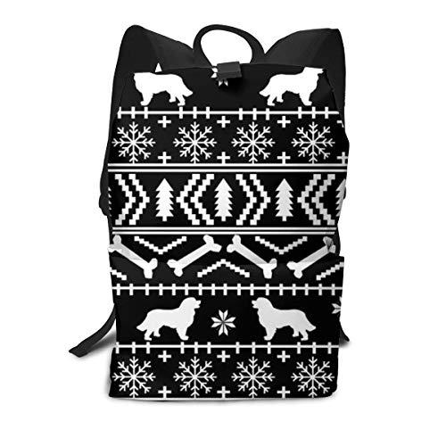 best gift Backpack Bernese Mountain Dog Christmas Silhouette Black and White Laptop Backpack Student School Bookbag Casual Durable Rucksack Travel Daypack -