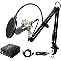 Tonor Professional Condenser Microphone XLR to 3.5mm Podcasting Studio Recording Microphone Kit PC Mics with 48V Phantom Power Supply, Boom Scissor Arm Stand with Shock Mount Black