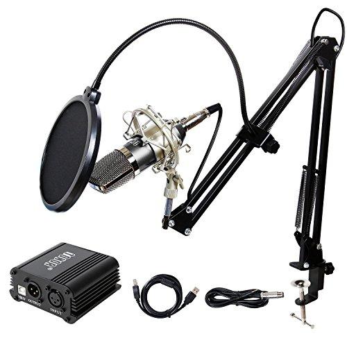 Tonor XLR zu 3.5 mm Kondensator-Mikrofon Kit Schall Podcast Studio Rundfunk & Aufnahme Microphone für Computer mit 48V Phantomspeisung und EU AC Stecker Konverter & Mikrofon Sets Schwarz