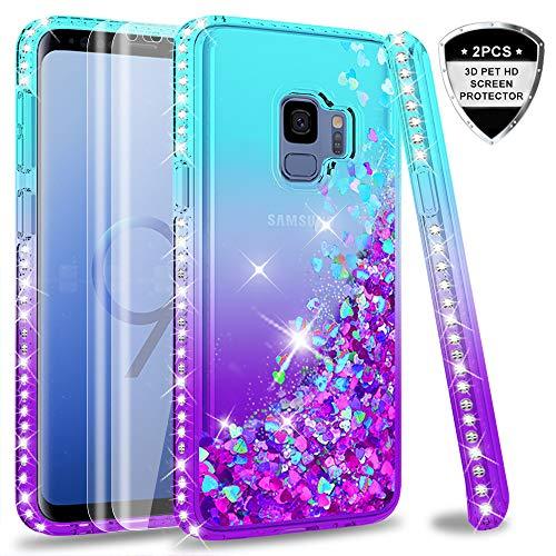 LeYi Hülle Galaxy S9 Glitzer Handyhülle mit Full Cover 3D PET Schutzfolie(2 Stück),Diamond Rhinestone Bumper Schutzhülle für Case Samsung Galaxy S9 Handy Hüllen ZX Gradient Turquoise Purple - Diamond 2 Handy