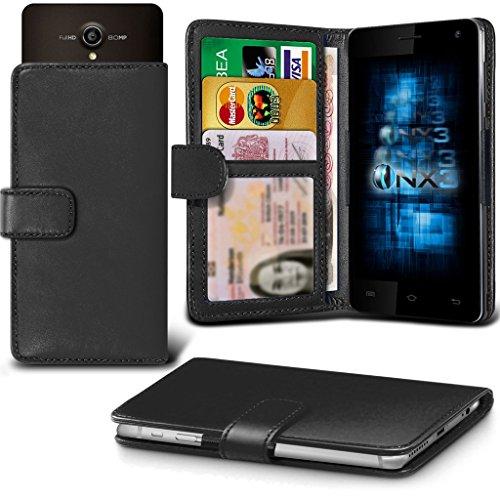 (Black) Allview P5 Energy Hülle Abdeckung Cover Case schutzhülle Tasche Verstellbarer Feder Mappe Identifikation-Kartenhalter-Kasten-Abdeckung ONX3