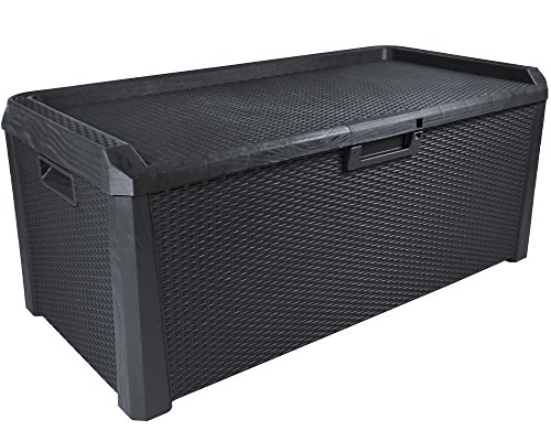 Ondis24 Kissenbox Gartenbox Terrassenbox Santo Rattan Optik Sitztruhe Auflagenbox anthrazit 560 Liter XXL