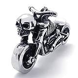 Epinki Edelstahl Herrenkette, Herren Anhänger Halskette Gotisch Biker Schädel Motorrad 26 Zoll
