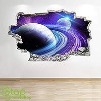 SPACE WALL STICKER 3D LOOK - MOON PLANET GALAXY STARS BOYS BEDROOM Z303
