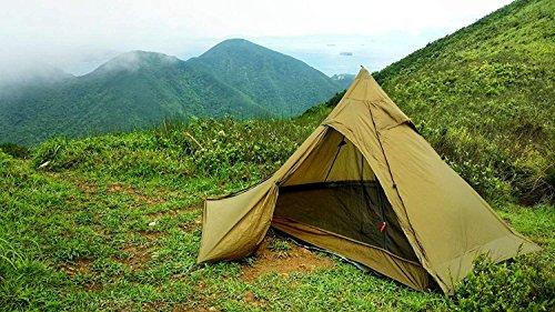 OneTigris Ultraleicht Pyramiden-Zelt mit Bergstock Campingzelt für 2 Personen |MEHRWEG Verpackung (Coyote Braun2)