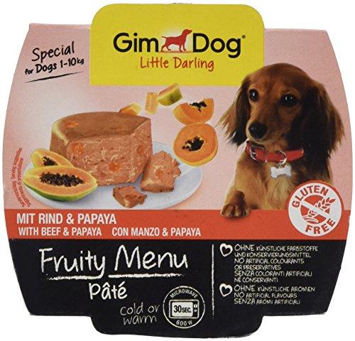 GimDog Futter – Little Darling Fruity Menu Paté mit Rind und Papaya – Für Hunde bis 10 kg – Glutenfrei – Hundefutter ohne künstliche Aromen & Farbstoffe – Hundenassfutter 800g (8 x 100g)