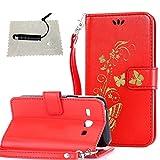 TOCASO hülle für Samsung Galaxy Core Plus (GT-G3500 / SM-G350 / G3502) Rote, Flip Tasche per Samsung Galaxy Core Plus (GT-G3500 / SM-G350 / G3502) Hülle Case Wallet ID Karte s Silikon Kunst