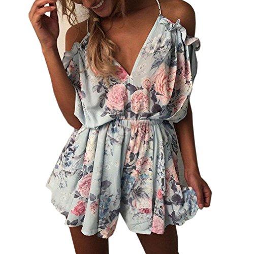 Woweal Damen Jumpsuits Boho Ärmellos Sommerkleid Strandkleid Playsuit Einteiler Casual Mini Schulterfreies Overall Kurz Hosen, XL, ()
