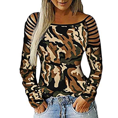 SKays Damen Langarm Bunt Casual Sweatjacke Print Bandage Camouflage Mit Langen Ärmeln Top Oversize Pullover T-Shirts MäDchen Blusen Outerwear Jacke