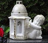 ♥ LED Grablampe Grablaterne Engel Massiv 22,0cm Weiss Bronze incl. Grabkerze Grablicht Grabschmuck Grabdekoration Grableuchte Laterne Kerze Lampe Licht