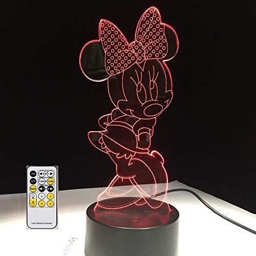 Lampada da tavolo per il cambiamento di colore della luce notturna di Minnie Mouse Bambino Bambino Regalo di Natale Novità Decorazione domest