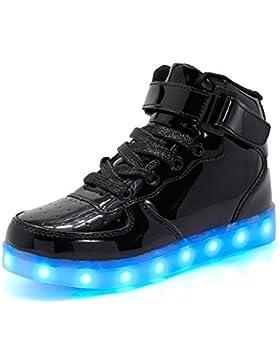 ByBetty Unisex Hombre de Las Mujeres de Alta Top USB Charger Luces LED 7 Colores Zapatillas de Deporte Light Up...