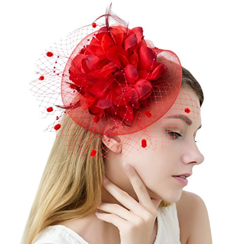 JaosWish Tulle Feather Fascinator Stirnband Netz Blume Haarclip für Cocktail Party Royal Ascot Hochzeit Hut Rot