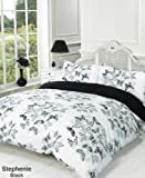 Stephanie Black White Grey Butterfly Double Duvet Quilt Cover Bedding Set