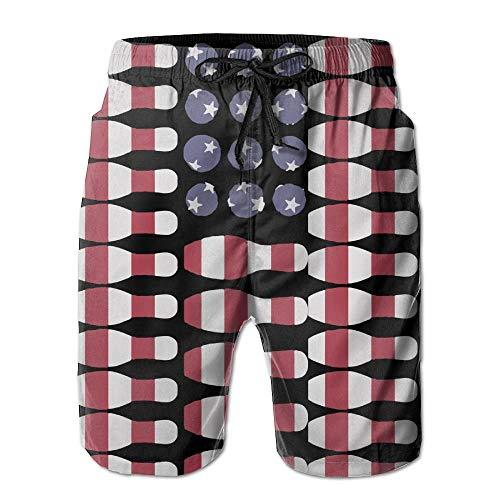Lover Bowling Ball Ki American Flag Mens Summer Casual Shorts Swim Trunks with Pockets XXL Chaps-mens Tie