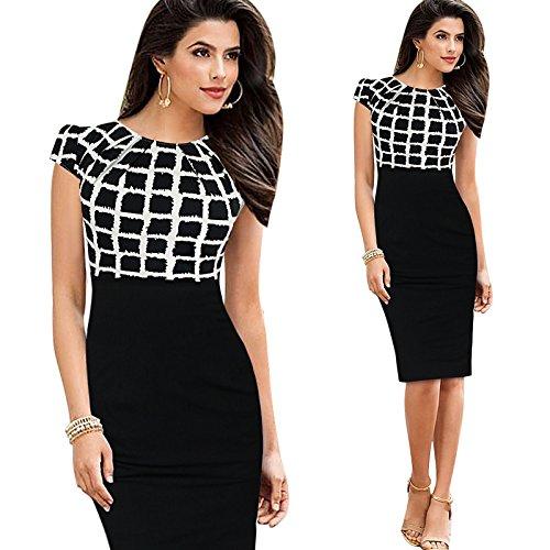 L'Europa E Gli Stati Uniti Women'S Wear A Maniche Corte Vestito Di Vendita,Bianco E Nero A Griglia,