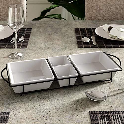 4-teiliges Gewürzset Relish Tablett mit Keramik-Dipschalen für Chips und Dip, Süßigkeiten und Nüsse, elegantes Vorspeisen-Set Keramik Relish Tray
