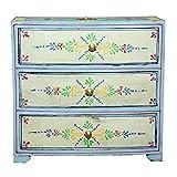 Casa Moro Orientalische Mini-Kommode mit 3 Schubladen von handbemalte Kästchen | Nähkästchen Holz Schminkkasten Shabby Chic Schubfachschrank | Schmuckkasten Akriti