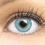 GLAMLENS Lenti a contatto colorate Jasmin Blue - azzurre - mensili - con porta lenti a contatto -blu naturali in silicone idrogel - 2 pezzi - DIA 14.0 - senza correzione 0.00 diottrie lente a contatto