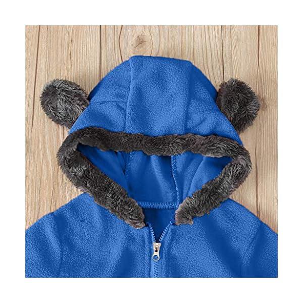 Mono de Punto Infantil Invierno Bebé Chicas Chicos Sólido Botón Dibujos Animados Cute Ears Hoodie Romper Ropa de Pata de… 4