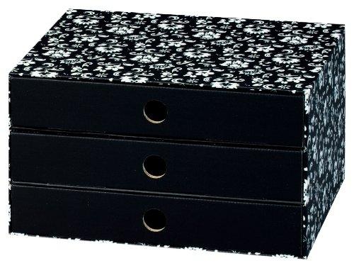 NIPS 110045251 ECO line SILVA Schubladenbox A4 mit 3 Schubladen, B 32,0 x T 24,5 x H 18,0 cm, schwarz/weiß (3-schubladen-box)