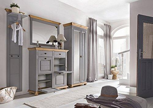 moebel-dich-auf BFK Collection Svea Landhaus Garderobe Garderobenset mit Wandgarderobe 88107, Wandspiegel 88131, Mehrzweckschrank 88121 und Dielenschrank 88104