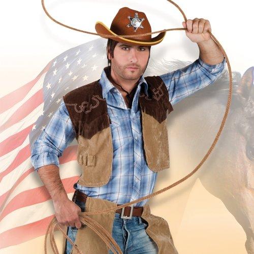 Herrenkostüm Cowboy Desperado: braune Chaps & Hut - Desperado Cowboy Kostüm