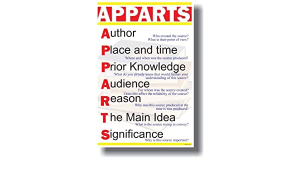 APPARTS   Author, Place U0026 Time, Prior Knowledge, Audience, Reason, The Main  Idea U0026 Significance   Classroom Language Arts Poster: Amazon.co.uk: Kitchen  U0026 ...