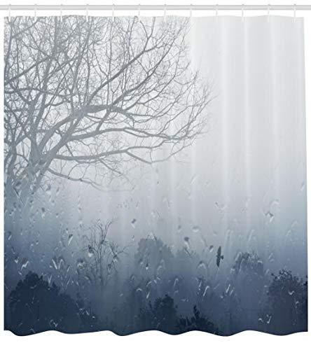 ABAKUHAUS Wald Duschvorhang, Mystic Romantische Landschaft, Hochwertig mit 12 Haken Set Pflegeleicht Farbfest Wasser Bakterie Resistent, 175 x 200 cm, Gray Denim -