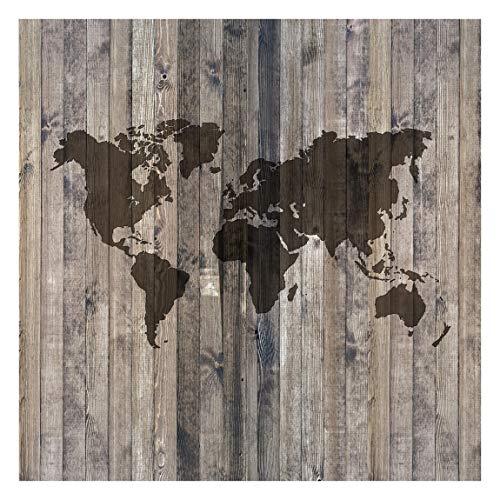 Fototapete selbsthaftend - Holz Weltkarte - Wandbild Quadrat 336x336 cm -