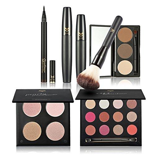 Ensembles de Maquillage de Beauté DISINO, Poudre Pressée 4 Couleurs, 1 Paire de Fard à Paupières, 1 Mascara, 1 Poudre de Sourcils, 1 Eyeliner, 1 Pinceau pour Blush