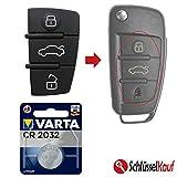 Auto Schlüssel Tasten Set 1X Tastenfeld 1X Batterie CR2032 für 3 Tasten Klappschlüssel kompatibel für Audi A1 8X A3 8P 8V A4 B7 A6 C6 TT 8J Q3 8U Q7 4L