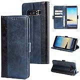 DENDICO Galaxy Note 8 Hülle, Premium Leder Wallet Tasche Flip Schutzhülle für Samsung Galaxy Note 8, Handytasche Klappbar Tasche Flip Case - Blau