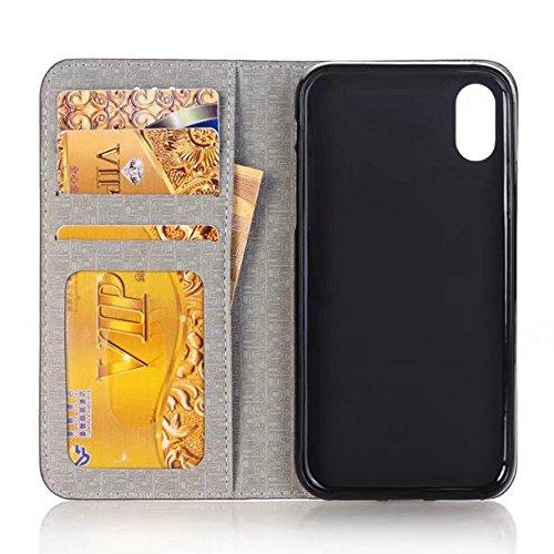 EKINHUI Case Cover Cross Lines Mixed Farben Pattern Premium PU Leder Brieftasche Case Cover mit Card Slots und Kickstand für iPhone X ( Color : Blue ) Wine