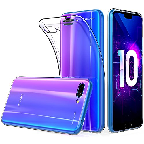 Peakally Cover per Huawei Honor 10, Trasparente Morbida TPU Silicone Ultra Sottile Custodia Case per Huawei Honor 10-Trasparente