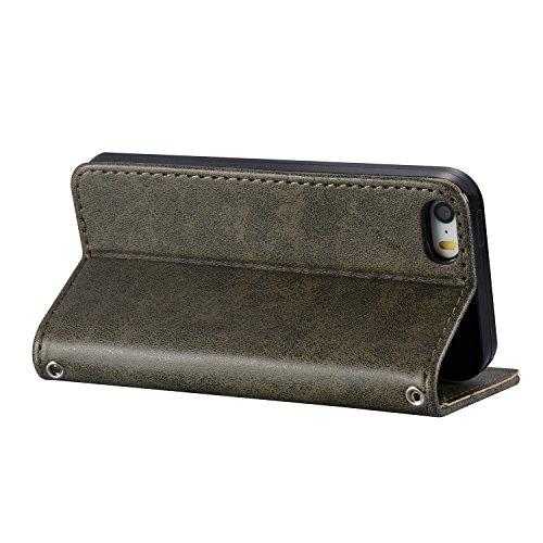 Coque iPhone 6 / 6S Plus (5.5 pouces) Étui en PU Cuir mort wallet Fermoir Magnétique Case Anti-rayures de la Haute Qualité Housse Anti-choc Anfire Cover pour iPhone 6 Plus / 6S Plus - brun Crâne gris
