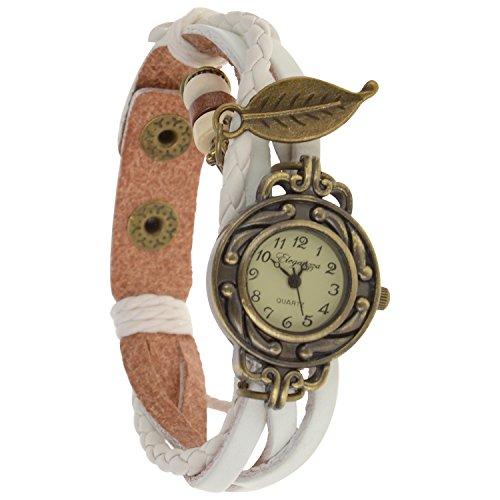 Eleganzza women's casual watch ladies bracelet watch leaf (white)